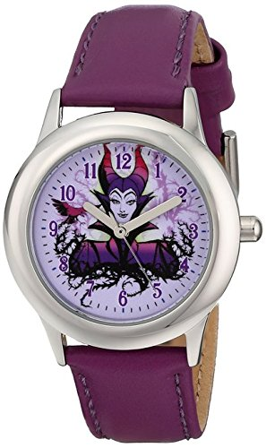 Disney Kids W001652 Maleficent Stainless Steel Watch with Purple Leather Band