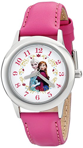 Disney Kids W001793 Frozen Elsa and Anna Stainless Steel Watch with Pink Leather Band