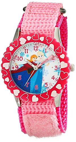 Disney Kids W001935 Elsa And Anna Time Teacher Stainless Steel Watch With Pink Nylon Band
