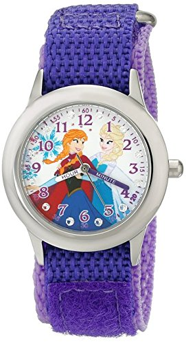 Disney Kids W001936 Elsa and Anna Stainless Steel Time Teacher Watch with Purple Band