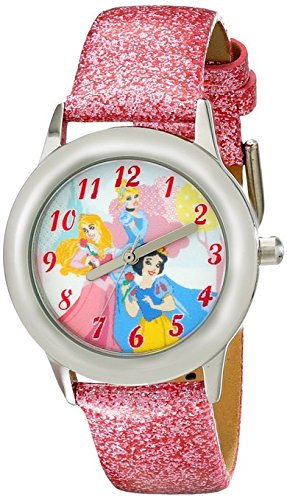 Disney Kids W001981 Snow White Stainless Steel Watch with Glittery Faux Leather Band