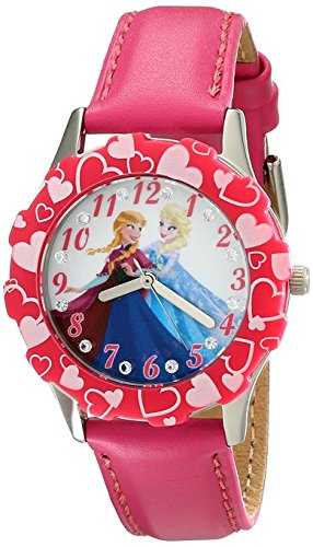Disney Kids W001987 Elsa and Anna Stainless Steel Watch with Pink Band