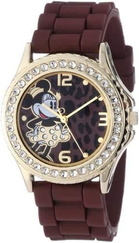 Disney Damen MN1054 Rhinestone Accent Minnie Mouse Brown Rubber Strap Armbanduhr