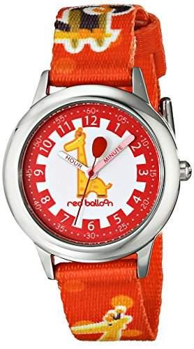 Red Balloon Unisex-Armbanduhr Stainless Steel Time Teacher Lernuhr Nylon rot W000189 Gurt