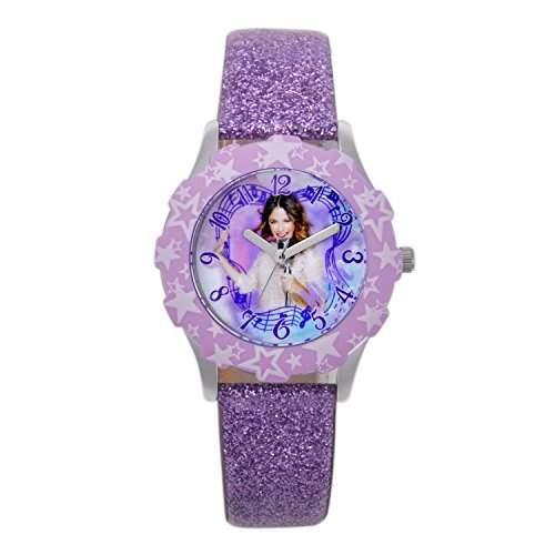 """Disney W001435 Mädchen-Armbanduhr, Motiv """"Violetta"""" analog Lederband glitzernd Rosa"""