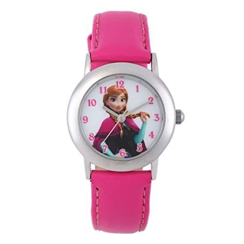 "Disney W002018 Mädchen Armbanduhr, Motiv ""Die Eiskönigin"", analog, Lederband, Rosa"
