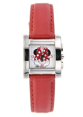 Disney-Minnie Mouse-WCL000086 Maedchen-Armbanduhr Analog Leder Rot