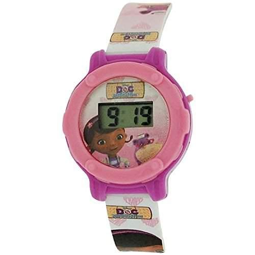 Disney DOC McStuffins Kids Kinder LCD Uhr, PU Schnallenarmband WD10568