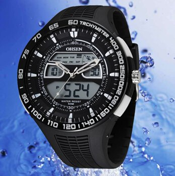 OrrOrr Ohsen Analog Multi funktion LCD Uhr Backlight Kautschuk weiss