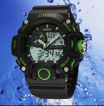 OrrOrr Ohsen Sport Uhr Armbanduhr Sportuhr analog digital gruen
