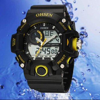 OrrOrr Ohsen Sport Uhr Armbanduhr Sportuhr analog digital gelb