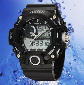 OrrOrr Ohsen Sport Uhr Armbanduhr Sportuhr analog digital weiss