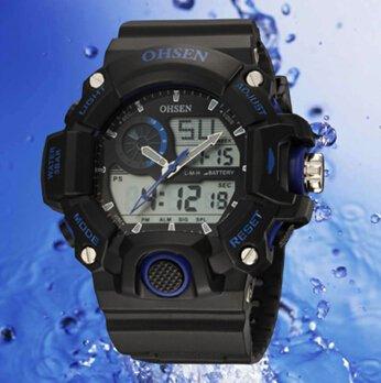 OrrOrr Ohsen Sport Uhr Armbanduhr Sportuhr analog digital blau
