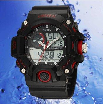 OrrOrr Ohsen Sport Uhr Armbanduhr Sportuhr analog digital rot