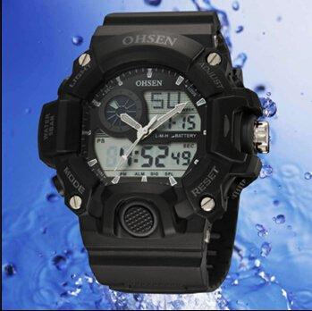 OrrOrr Ohsen Sport Uhr Armbanduhr Sportuhr analog digital schwarz