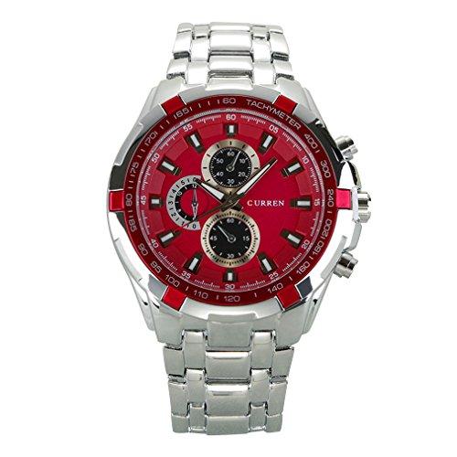 OrrOrr Moderne w000052 31 Uhr fuer Maenner Edelstahl Armband Rot