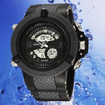 OrrOrr OHSEN Sportuhr LED Digitaluhr LCD Stoppuhr Quarzuhr Gummi Armbanduhr schwarz
