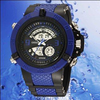 OrrOrr OHSEN Sportuhr LED Digitaluhr LCD Stoppuhr Quarzuhr Gummi Armbanduhr blau
