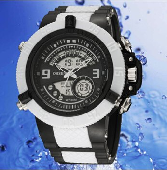 OrrOrr OHSEN Sportuhr LED Digitaluhr LCD Stoppuhr Quarzuhr Gummi Armbanduhr weiss