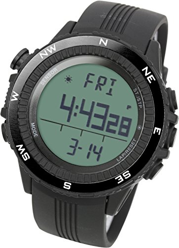 LAD WEATHER Deutscher Sensor Digitaler Kompass Hoehenmesser Barometer Chronograph Wettervorhersage Outdoor Sportuhr Bergsteigen Laufen lad004bkno eu