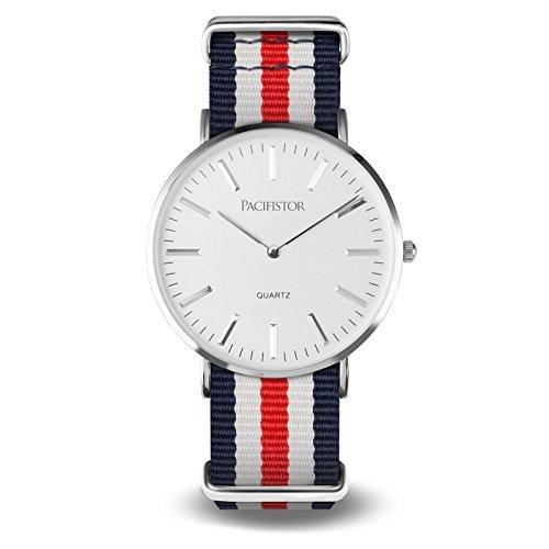 PACIFISTOR Herren Analoges Quarzwerk Armbanduhr Outdoor Uhr Duenn Luxus Elegant Besiness Uhren