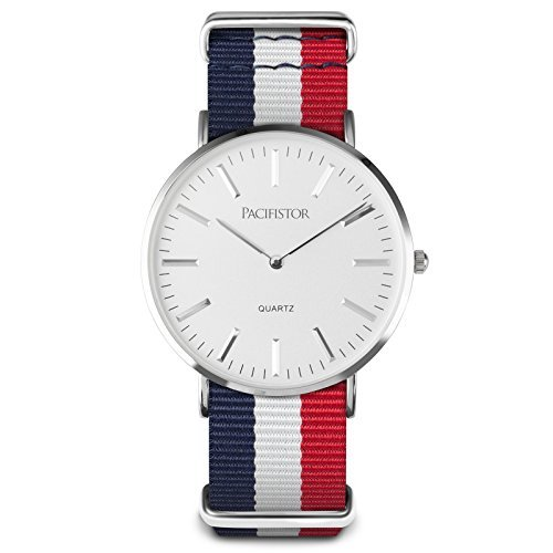 PACIFISTOR Herren Analoges Quarzwerk Armbanduhr Business Outdoor Geschaeft Duenn Uhren Nylon Armband Silber