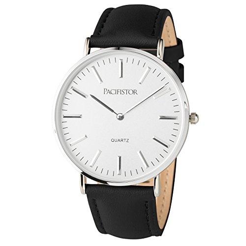 PACIFISTOR Herren Analoges Quarzwerk Armbanduhr Geschaeft Duenn Design Elegant Schwarz Kunstleder Armband
