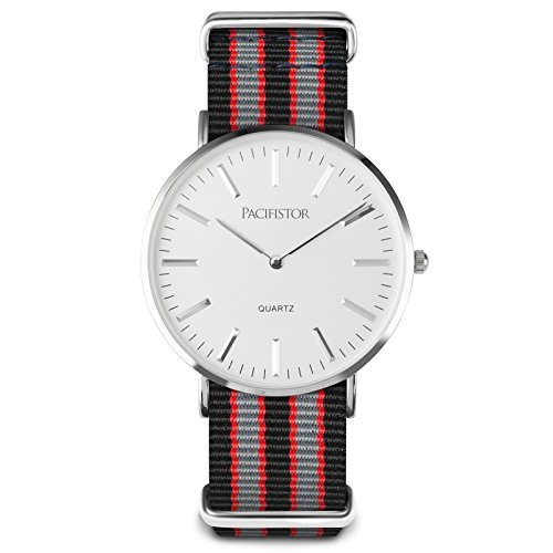 PACIFISTOR Duenn Armbanduhr Quarz Uhr Silber Edelstahluhr Unsex OHNE SEKUNDE ZEIGER