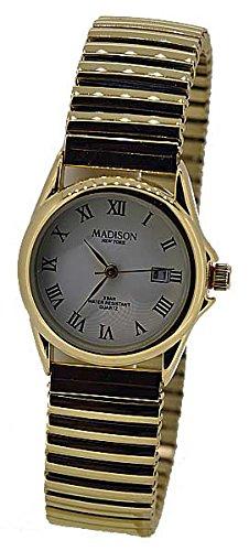 Madison Uhr Armbanduhr Damen edler STAHL gold Datum UVP 39 90 7926