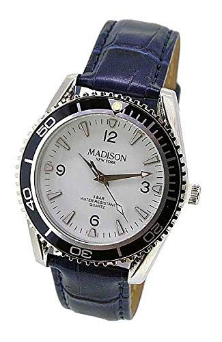 Madison Uhr Armbanduhr Herren LEDER blau KROKO 53976 UVP 27 50 7930