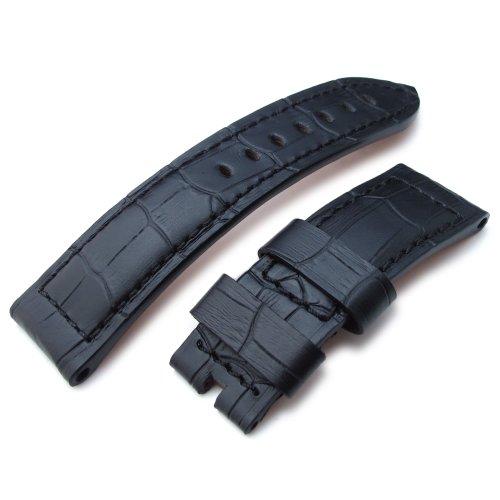 24 mm matt schwarz crococalf Kroko Getreide Uhrenarmband Schwarz Naehte fuer pin buckle Verwenden