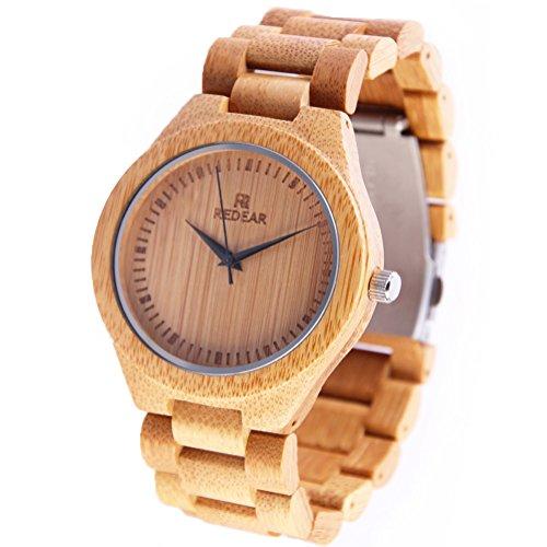 REDEAR Unisex Bambus Uhren Abgestimmt Bambus Uhr Band Fall und eine Hohe Qualitaet Bewegung