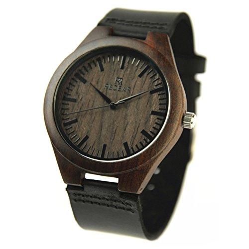 Herren Casual Holz Bambus Uhren Armbanduhr von Redear und Leder natur der Rindsleder Gurt Japanisches Quarz