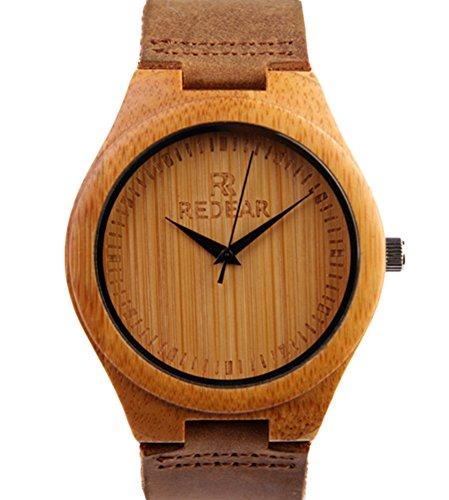 REDEAR Bambus Uhren Hochwertige mit Lederarmband Spitzen Zeiger