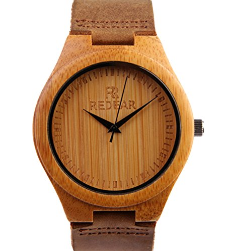 REDEAR Bambus Uhren Hochwertige Herren Armbanduhren mit Lederarmband Spitzen Zeiger