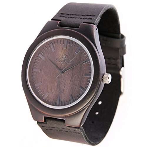 REDEAR Qualitaet aus Holz Handgefertigte Uhren fuer Maenner Armbanduhren mit Leder Strap Sandale Dunkel