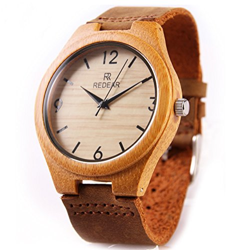 REDEAR Qualitaet Bamboo Uhren Handmade Collection Geschenk fuer Maenner Armbanduhren mit Lederband Nummer