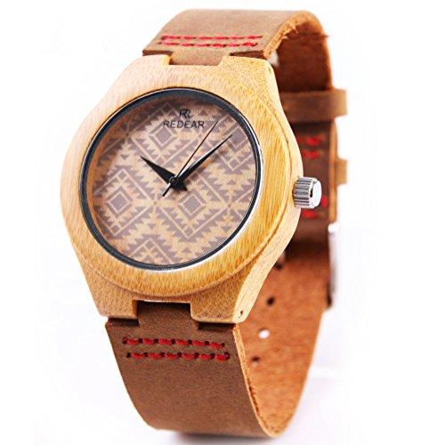 REDEAR Qualitaet Bamboo Uhren Handmade Collection Geschenk Frauen Armbanduhren mit Lederband Welle