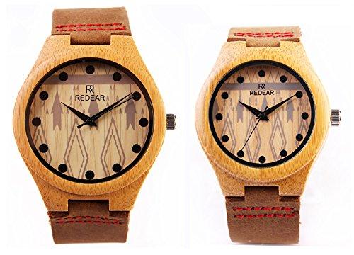 REDEAR Lover s Quarz Uhren Bamboo Leather Strap Watch Handmade Valentinstag Geschenke Paare Armbanduhren Pfeil 2 Stueck