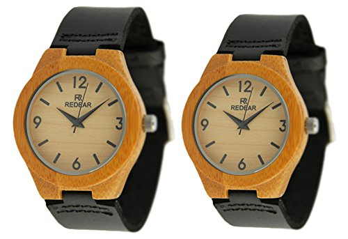 REDEAR Lover s Quarz Uhren Bamboo Leather Strap Watch Handmade Valentinstag Geschenke Paare Armbanduhren Nummer 2 Stueck
