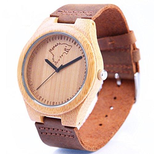 REDEAR Bambus Uhren Hochwertige mit Lederarmband Wolf