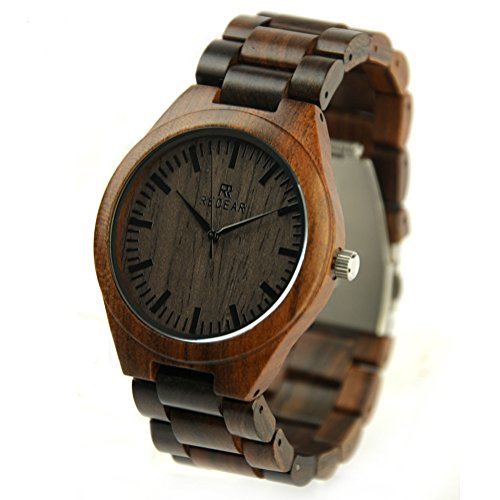 REDEAR Maenner aus Holz Armbanduhren Retro Vintage Holz Uhren 45mm Dunkle Sandale
