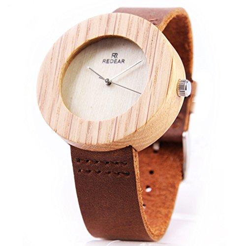 REDEAR Unisex Holz Uhren Runde Eichenholz Gehaeuse mit Lederarmband