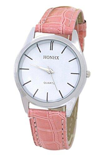 Armbanduhr HONHX Damen Rundes Zifferblatt Beilaeufige Armbanduhr Rosa Weiss