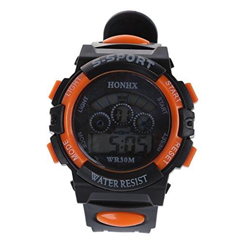 HONHX Klassische Maenner Junge LED Digitale Gummi Armbanduhr Orange