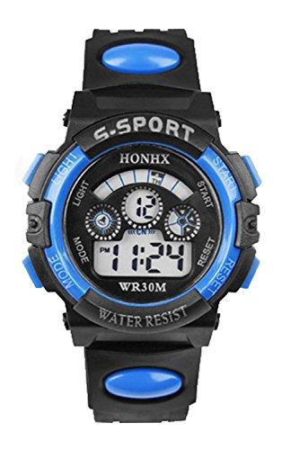 HONHX Klassische Maenner Junge LED Digitale Gummi Armbanduhr Blau