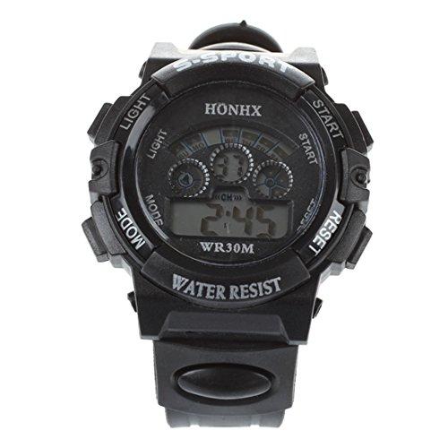 HONHX Klassische Maenner Junge LED Digitale Gummi Armbanduhr Schwarz