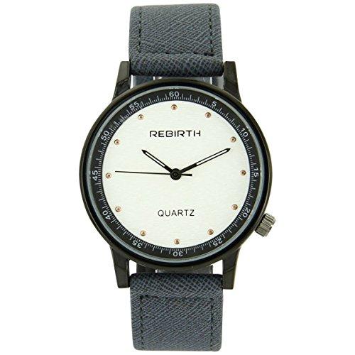 Rebirth Uhren Damen Armbanduhr Damen mit Leder blau grau Rebirth 2049