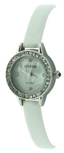 Citron Damen-Armbanduhr Analog Formgehaeuse weiss CB804A