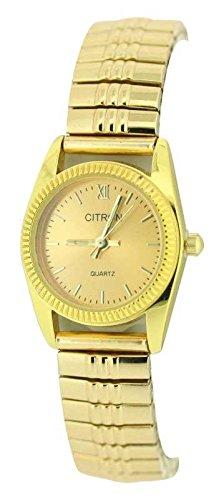 Damen Classic Style Stretcharmband Armbanduhr Egal Gold Face exp103 C
